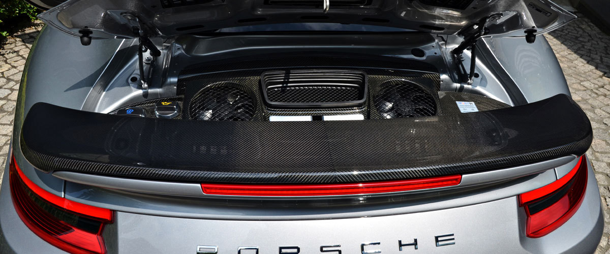 Porsche 991 turbo carbon rear wing diffusor exclusive series real carbon exterior parts engine bay trim