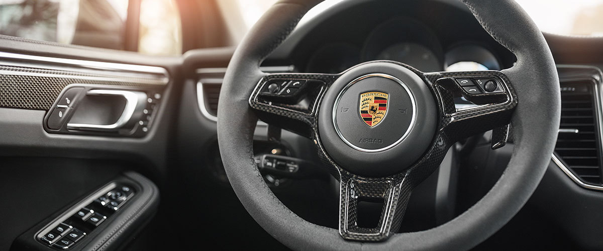 Porsche 95B Macan carbon interior trim lining steering wheel cover real carbon parts shift paddles
