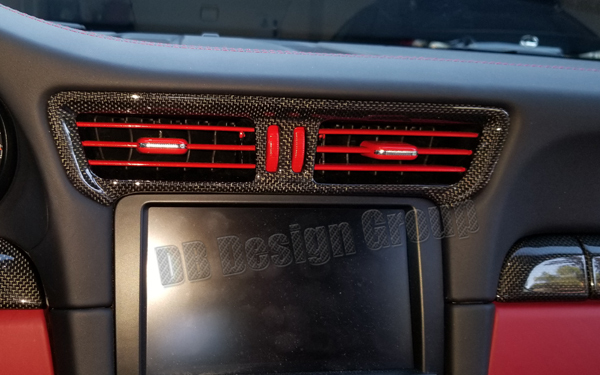 DB Carbon Porsche 991 center air vent dash painted vent slats coloured air fins
